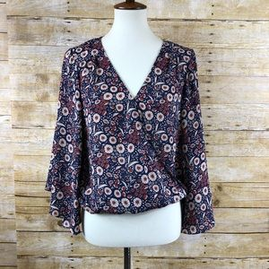 Sanctuary Blue/Orange Floral Long Sleeve Blouse S